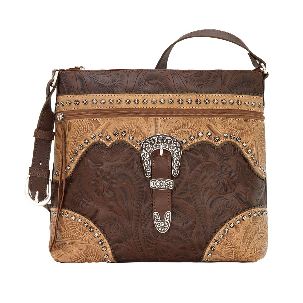 American West Womens 170 Handbags Chestnut Brown Tan Distressed Charcoal Size M
