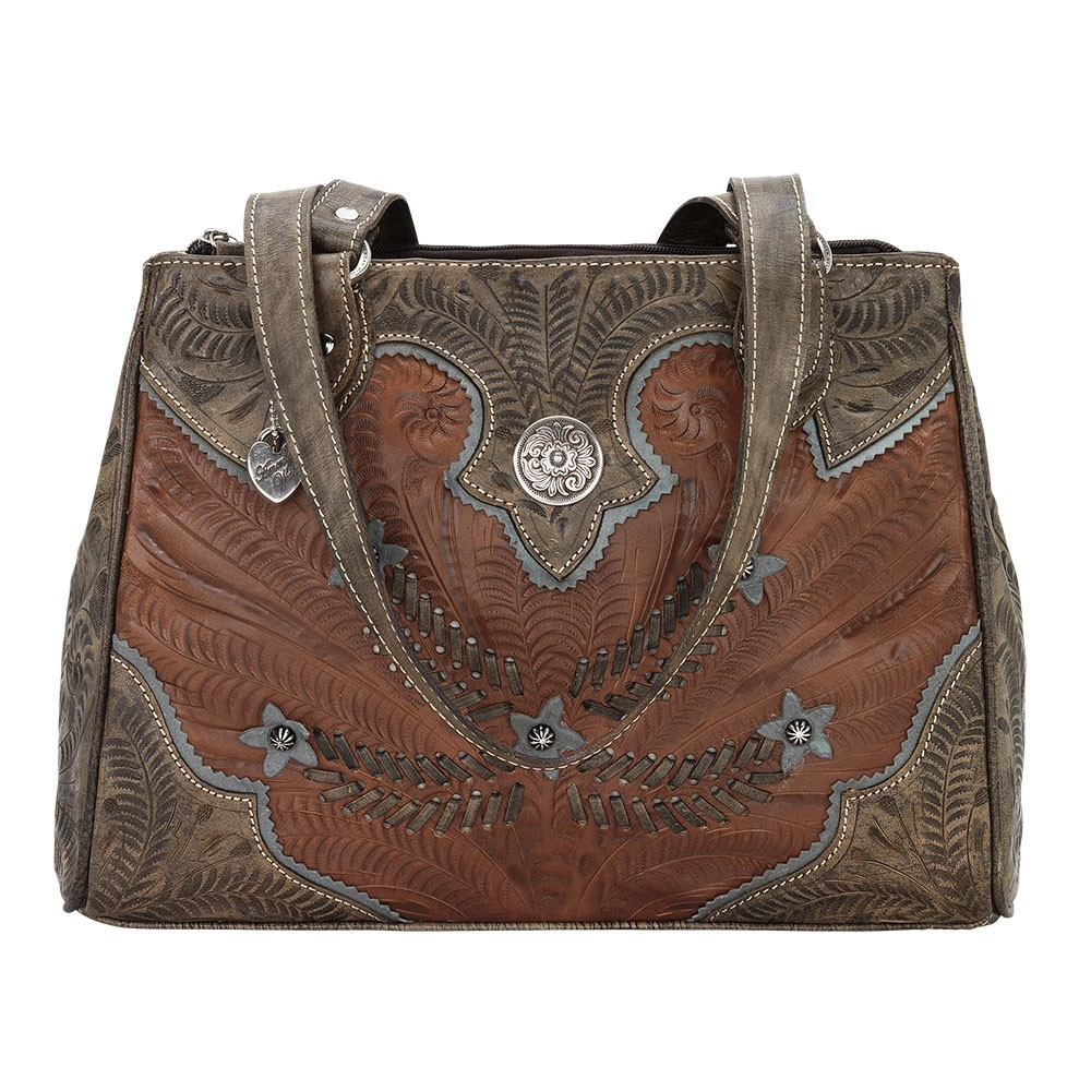 American West Womens 471 Handbags Antique Brown Distressed Charcoal Sky Blue Size M